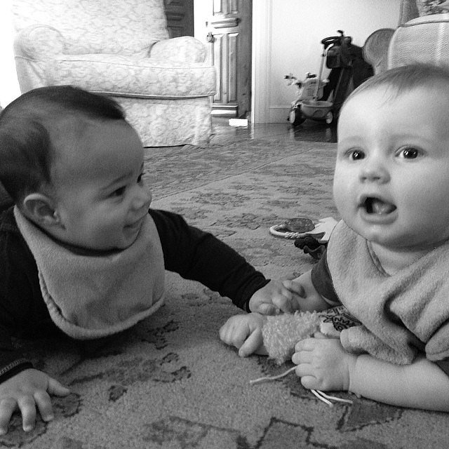 Ace Johnson and Rocco Faison had a baby playdate. Source: Instagram user jessicasimpson