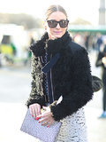 Olivia Palermo added Westward Leaning shades and a spotted clutch to her black and white look.  Source: Tim Regas