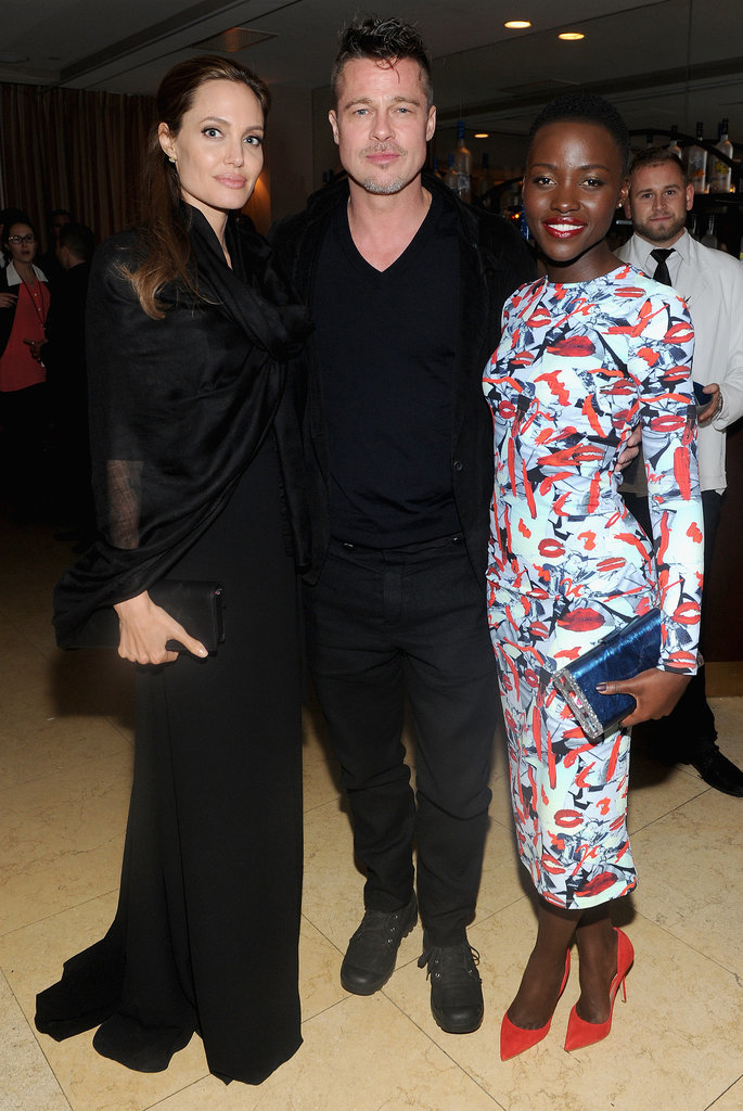 Angelina and Brad spent quality time with Lupita at the 12 Years a Slave dinner on Saturday.