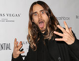 Jared Leto kicked off his Los Angeles Confidential party with an animated party face.