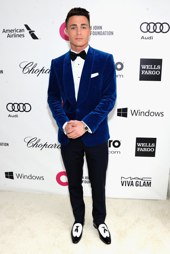 Teen Wolf star Colton Haynes wore blue to the party.
