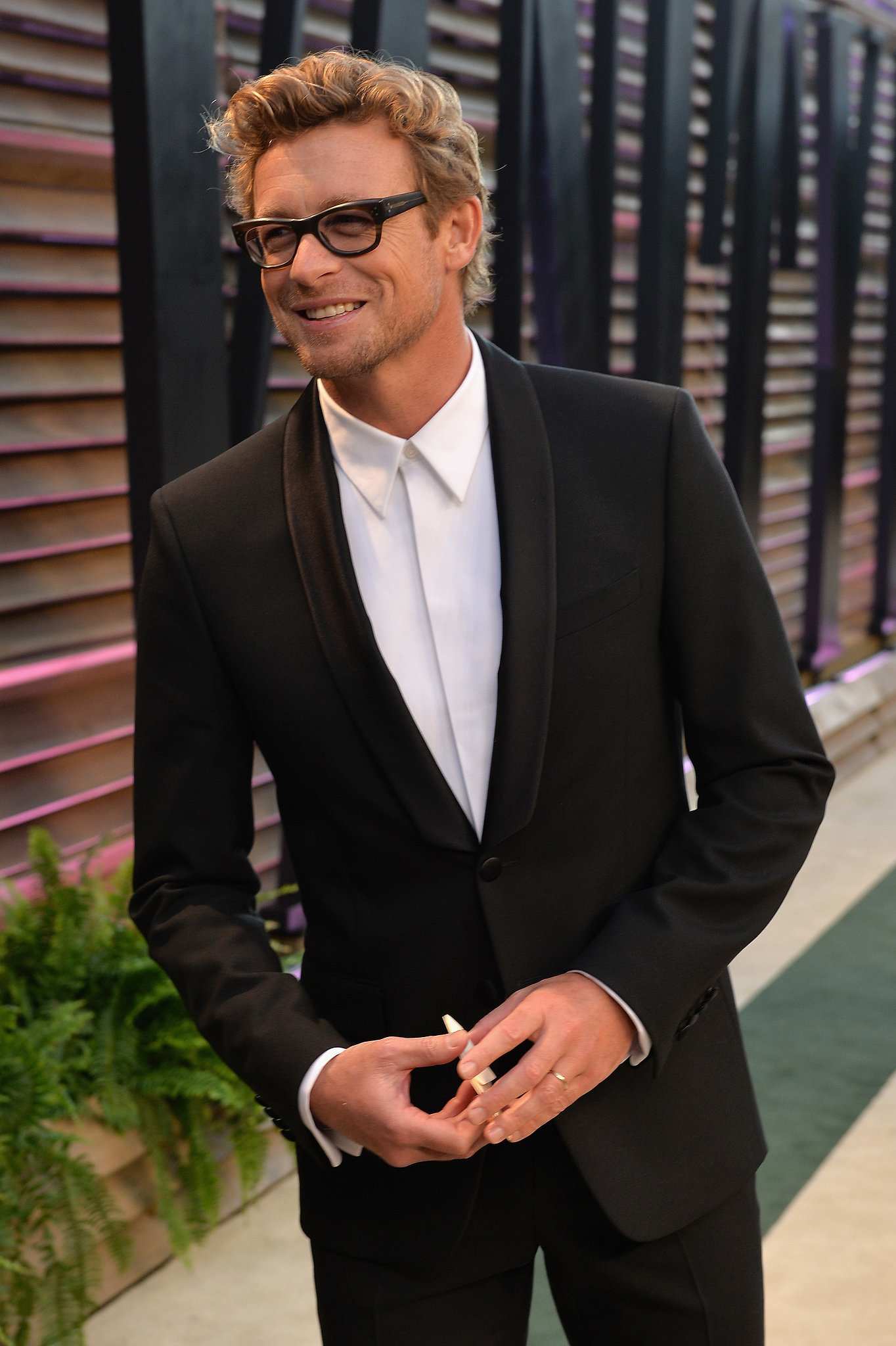 Simon Baker was all smiles on the red carpet.