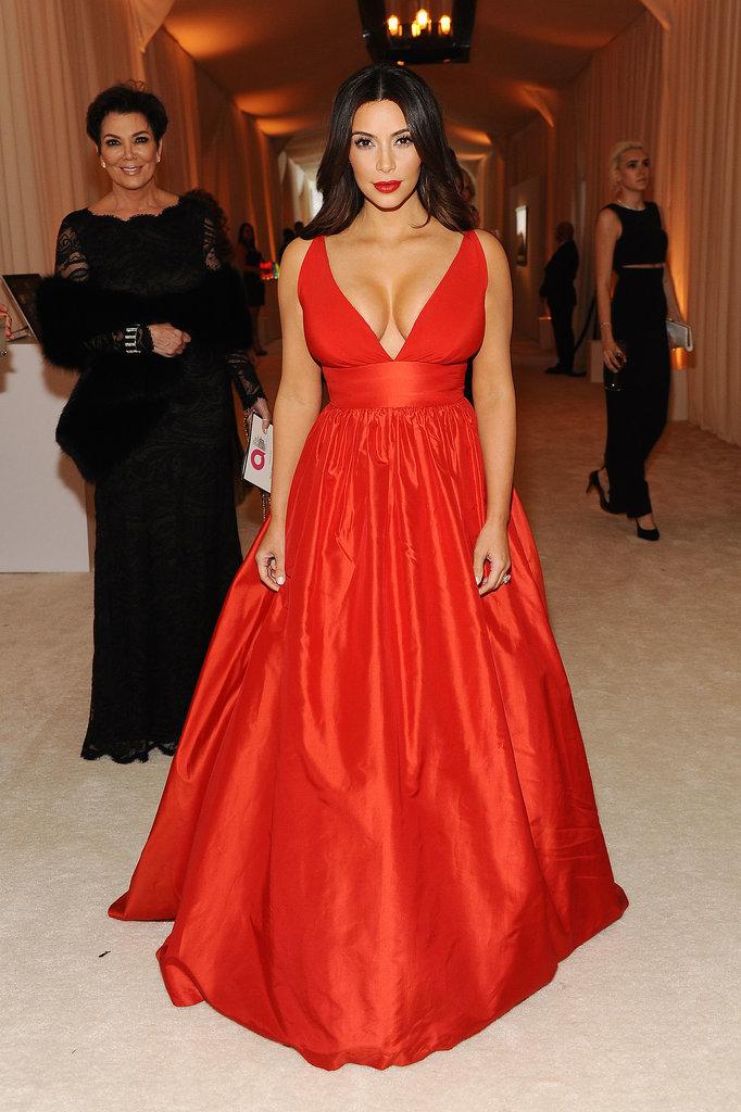 Kim wore red.
