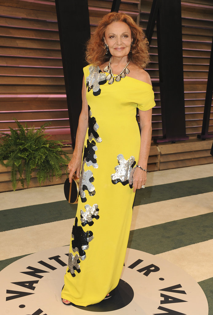 Designer Diane von Furstenberg showed up in one of her own designs.