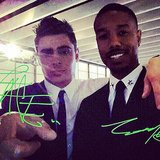 That Awkward Moment costars Zac Efron and Michael B. Jordan snapped a backstage selfie. Source: Instagram user zacefron