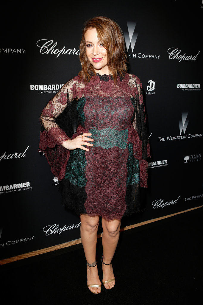 Alyssa Milano wore a fun lace number to the party.