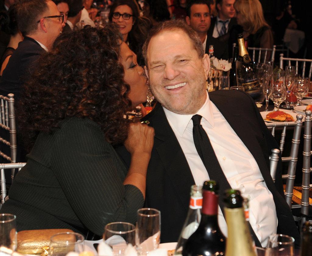 Oprah gave Harvey Weinstein a kiss on the cheek at the Critics' Choice Awards.