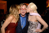 Gaga and Sheryl Crow smooched Elton.