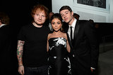 Ed Sheeran posed with Sarah Hyland and Matt Prokop.