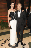 Anne Hathaway and her husband, Adam Shulman, coordinated in black and white.
