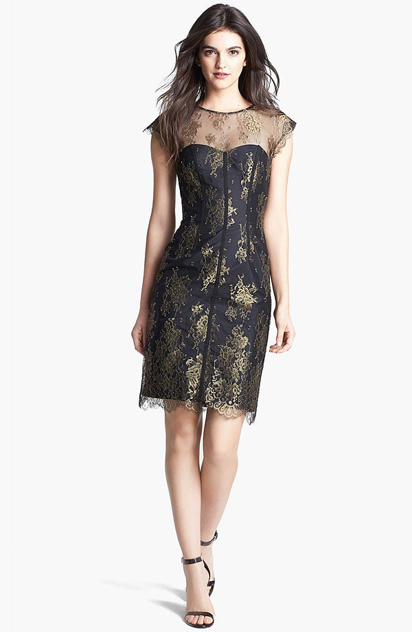 ML Monique Lhuillier Gold and Black Lace Sheer Dress ($269, originally $448)