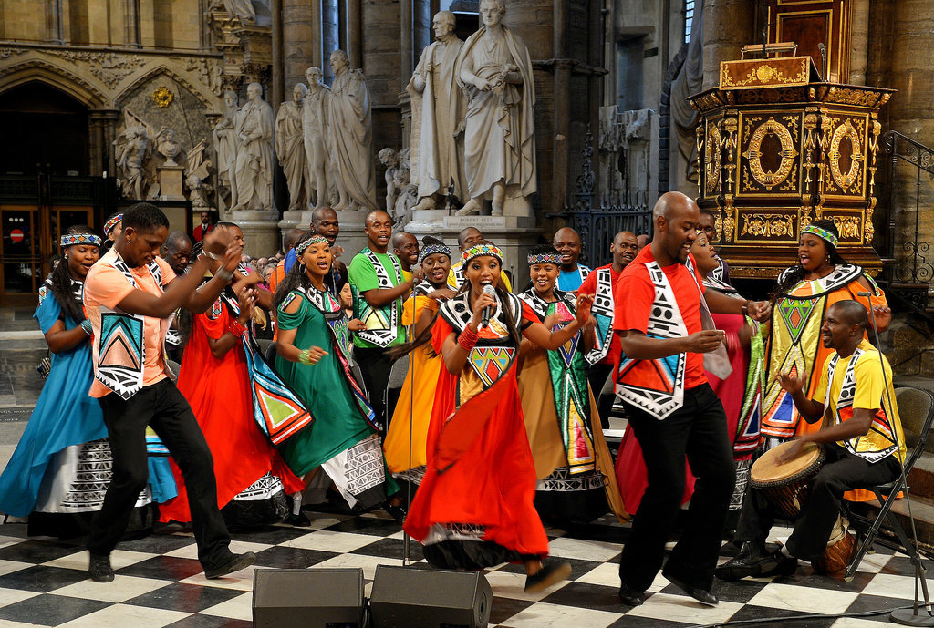 The Soweto Gospel Choir performed during the service.