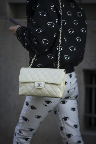 She finished off her bold Kenzo prints with a pastel Chanel.