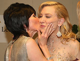 Cate Blanchett got a kiss from her agent Hylda Queally backstage at the Oscars.