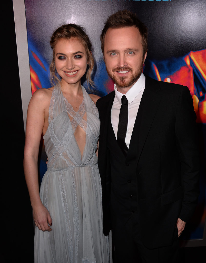 Costars Imogen Poots and Aaron Paul were all smiles.
