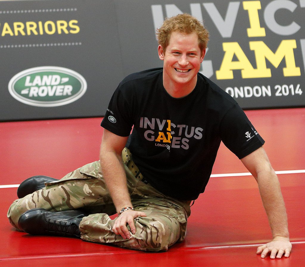 Prince Harry played sitting volleyball with injured servicemen and women while introducing his Invictus Games in London on Wednesday.