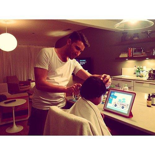 Phyllon Joy Gorré got a haircut in his kitchen from mom Doutzen Kroes's own stylist. Source: Instagram user doutzen