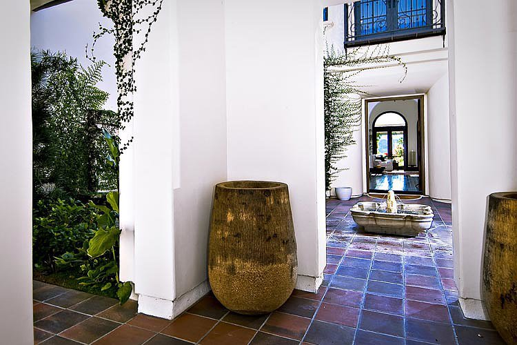 A fountain-filled courtyard greets guests upon entrance.  Source: Trulia