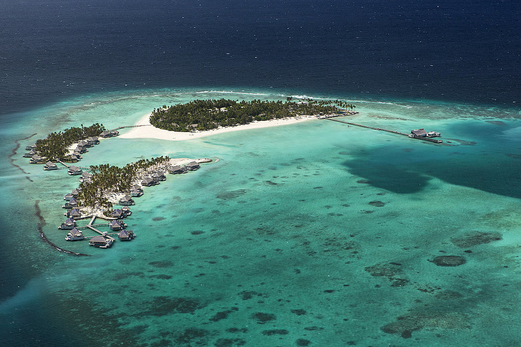 Get ready for some major travel envy because what you're looking at is an aerial view of the property. Guests have to take a private seaplane to get there.   Source: Cheval Blanc Randheli
