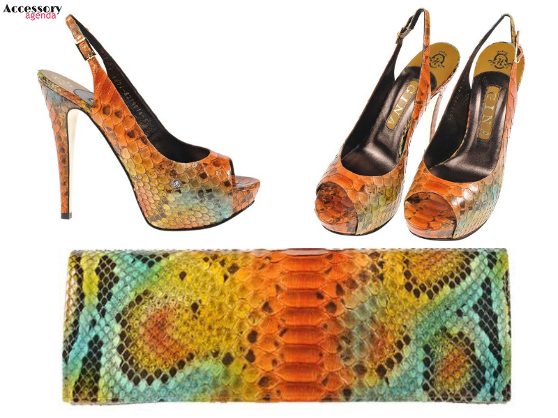 Gina Python Shoes Clutch Handbag Exotic Skins Jemma Multi Colored Scott