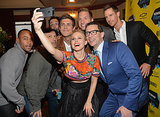Kristen took a big group selfie before her screening on Saturday. Director and co-writer Rob Thomas and costars Percy Daggs, Enrico Colantoni, Chris Lowell, Ryan Hansen, and Jason Dohring all huddled up for the shot.