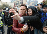 Nicolas Cage posed for a serious selfie with a fan on Sunday.
