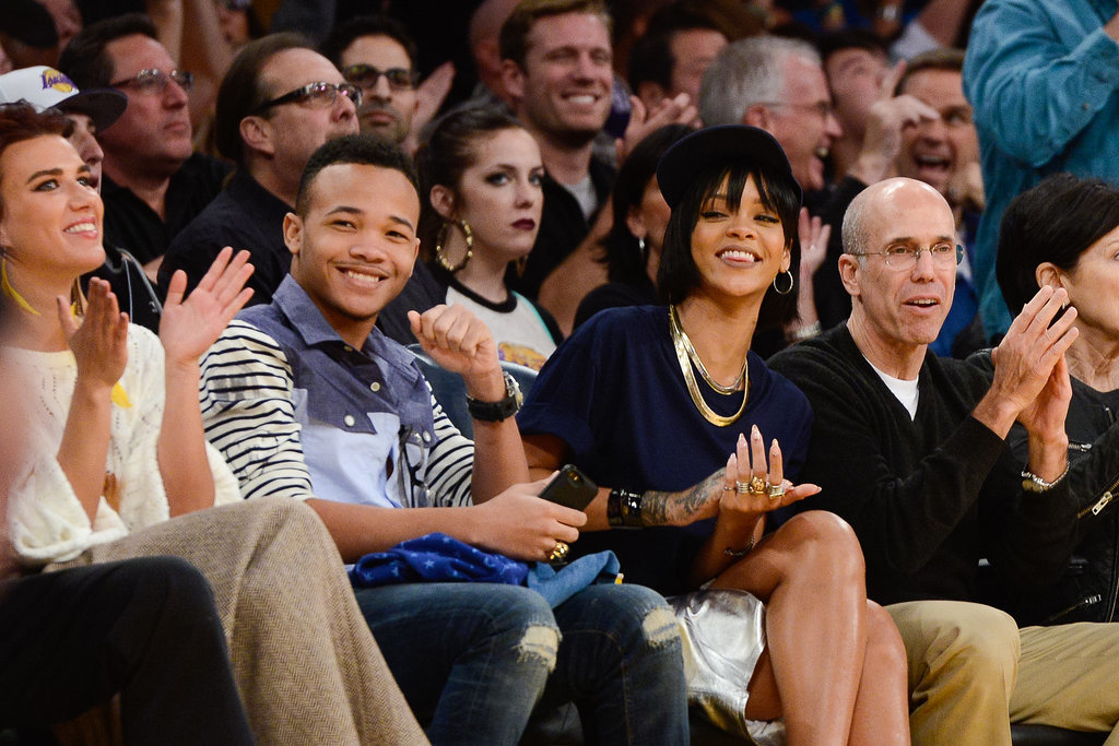 Rihanna brought her brought her brother, Rajad Fenty, to see the LA Lakers battle it out with the Portland Trailblazer in December 2013.