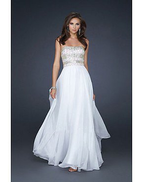 Chic Full Length Prom Dress by La Femme 17657 White