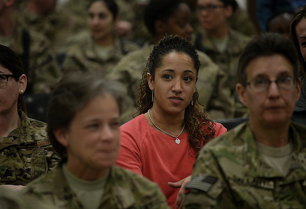 Female US soldiers attended an event in Afghanistan that centered on women's progress.