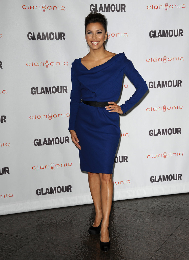 Longoria worked a structured indigo Victoria Beckham sheath with black satin Brian Atwood pumps in October 2011.