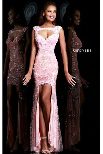 Sherri Hill 9710 Prom Dress Embellished Hi Lo Pink