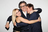 Kristen and Chris Got Goofy While Hugging Ira Glass