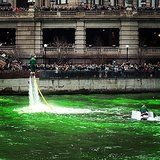 And, oh, there's a leprechaun just jetting over the water like Iron Man.