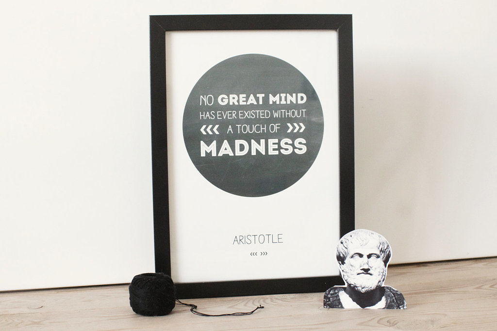 No great mind has ever existed without a touch of madness ($31)
