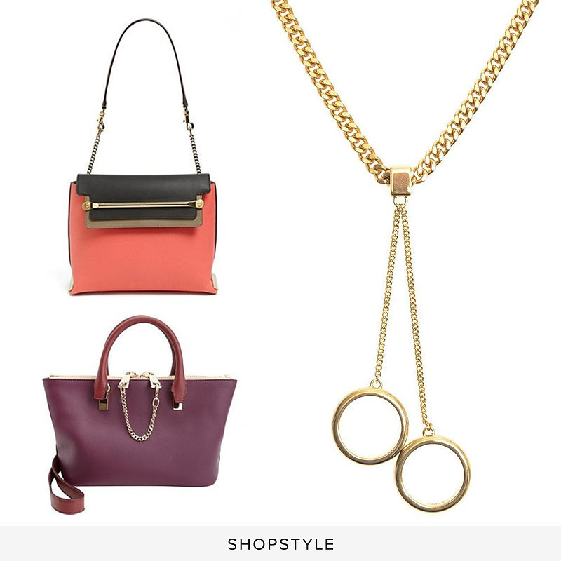 Chloé 'Clare' Tricolor Leather Shoulder Bag ($2,400), Chloé Mini Baylee Bag ($1,555), Chloé Carly Heavy Chain Necklace ($535)