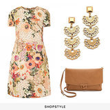 Tory Burch Kaley Floral Tweed Dress ($395), Tory Burch Madura Frete Drop Earrings ($125), Tory Burch Leather Closure Clutch ($295)