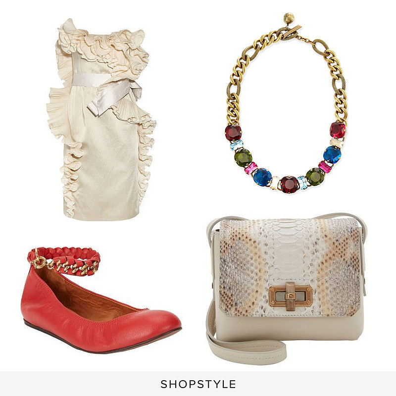 Lanvin Multicolor Crystal Necklace ($1,495), Lanvin Python Happy Edgy Crossbody ($1,545), Lanvin Chain Ankle-Strap Ballerina Flats ($790), Lanvin Ruffled Satin Dress ($5,790)