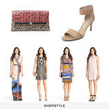 Diane von Furstenberg 440 Envelope Colorblock Snake Clutch ($265), DVF Kinder Cork Foil Sandal ($298), DVF New Yahzi Silk Jersey Maxi Wrap Dress ($575), DVF Neapoli Metallic Crochet Dress ($745), DVF New Jeanne Two Silk Jersey Wrap Dress ($365), DVF Norah Embellished Chiffon Dress ($345)
