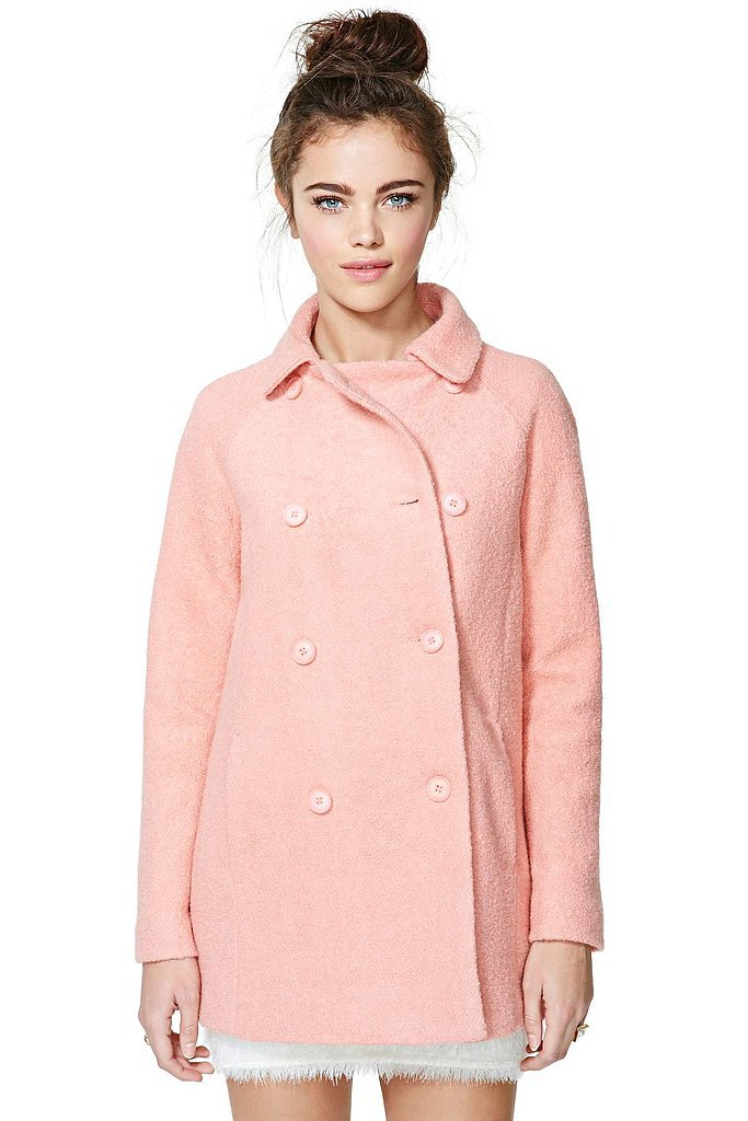 "Nasty Gal pink double-breasted ""Charlene"" coat ($92)"