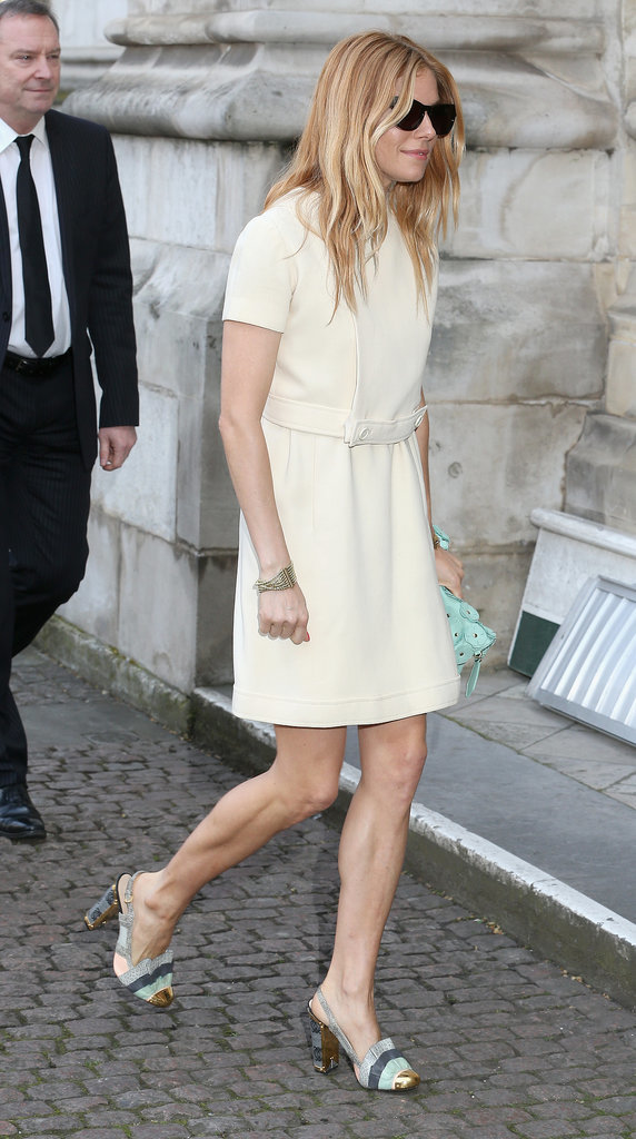 Sienna Miller made her way into the memorial.