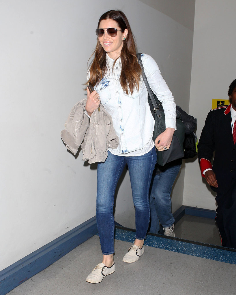 Jessica Biel Wearing Madewell and Soludos