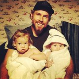 Jessica Simpson's fiancé, Eric Johnson, held their two little ones after a bath. Source: Instagram user jessicasimpson