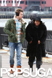 Amber Riley and Chord Overstreet bundled up while filming Glee on Monday in NYC.