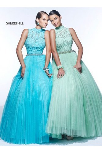 Sherri Hill 21334 Pleated 2014 Prom Dress Gown Aqua