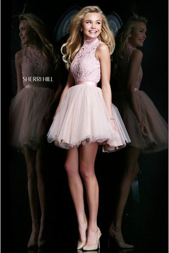 Sherri Hill 21345 High Neck 2014 Prom Dress Pink