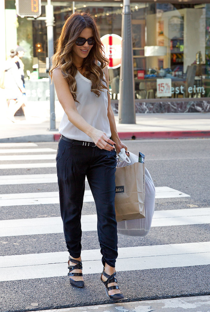 Kate Beckinsale in Navy Trousers