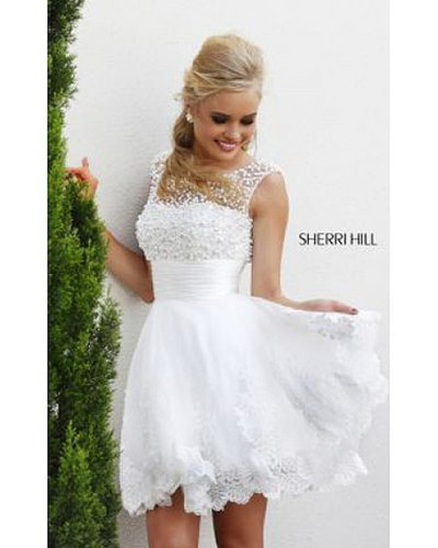 2014 White Short 4302 Sherri Hill Prom Dress