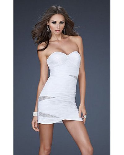 2014 White Tight Dress by La Femme 15867