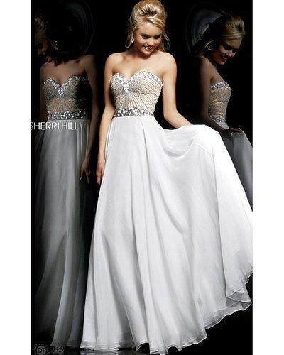 2014 Sherri Hill 1923 White Prom Dress