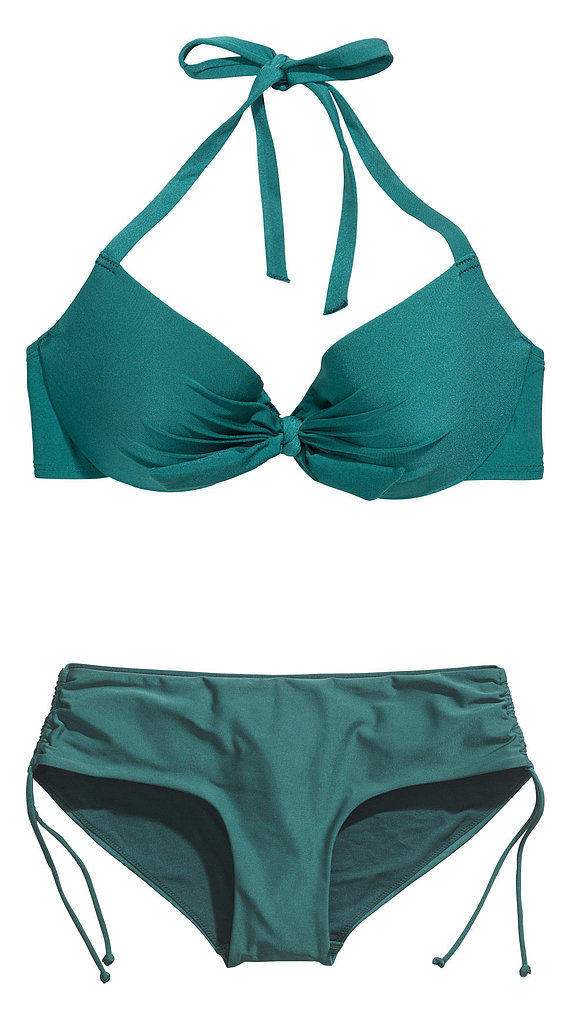 The surest way to fake a bigger bust? Padding. A center bow can also be a smart tool to pull the cups closer together, ensuring a better fit (and creating some cleavage). Try the tactic with H&M's bikini top ($18) and bottoms ($13).